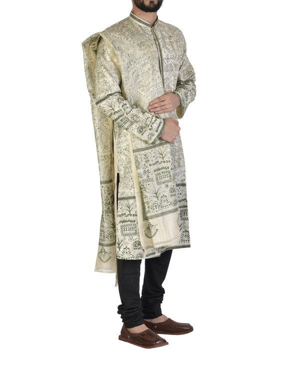 Tussar silk achakan and shawl 2