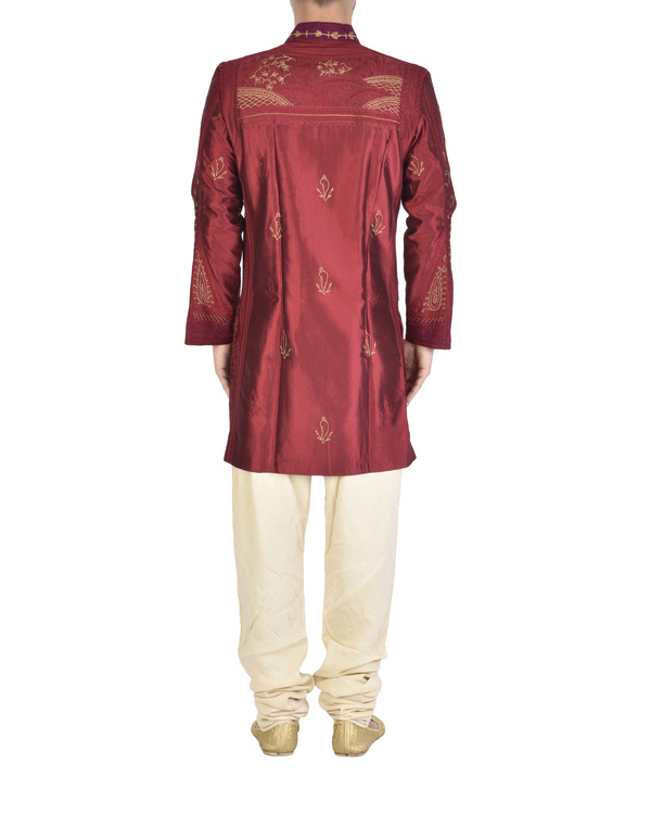 Maroon Dupion silk embroidered angrakha 1