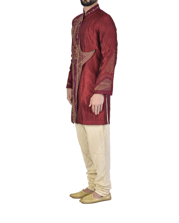 Maroon Dupion silk embroidered angrakha 2