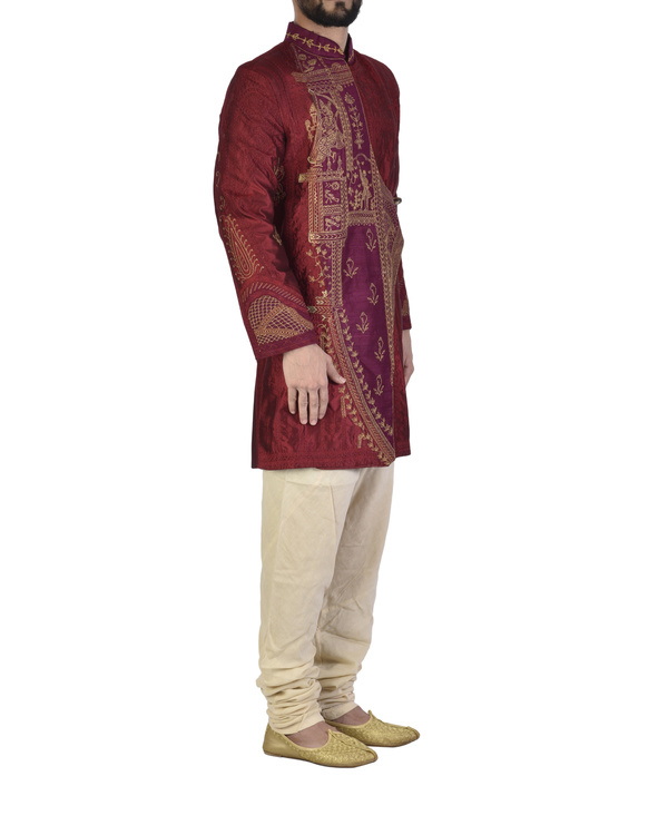 Maroon Dupion silk embroidered angrakha 3