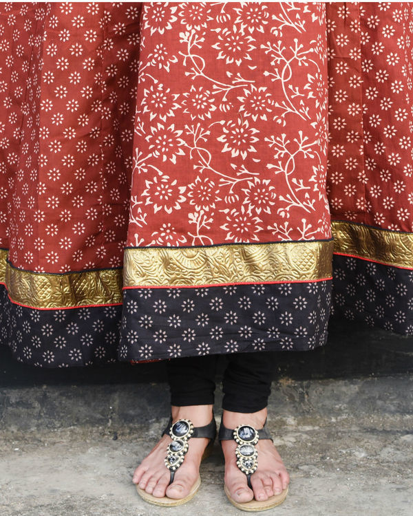 Deep red anarkali 3