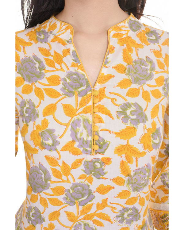 Pastel yellow cotton kurta 1