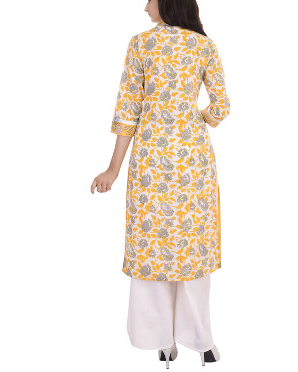 Pastel yellow cotton kurta 2