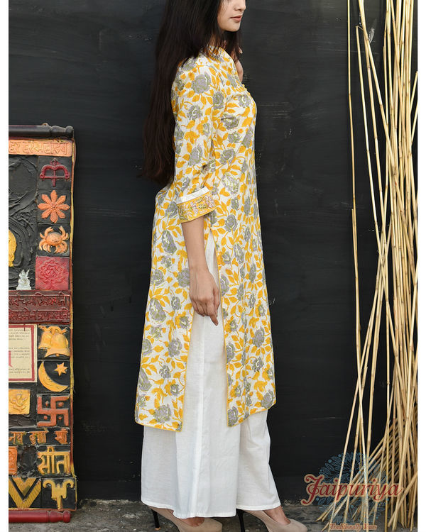 Pastel yellow cotton kurta 3
