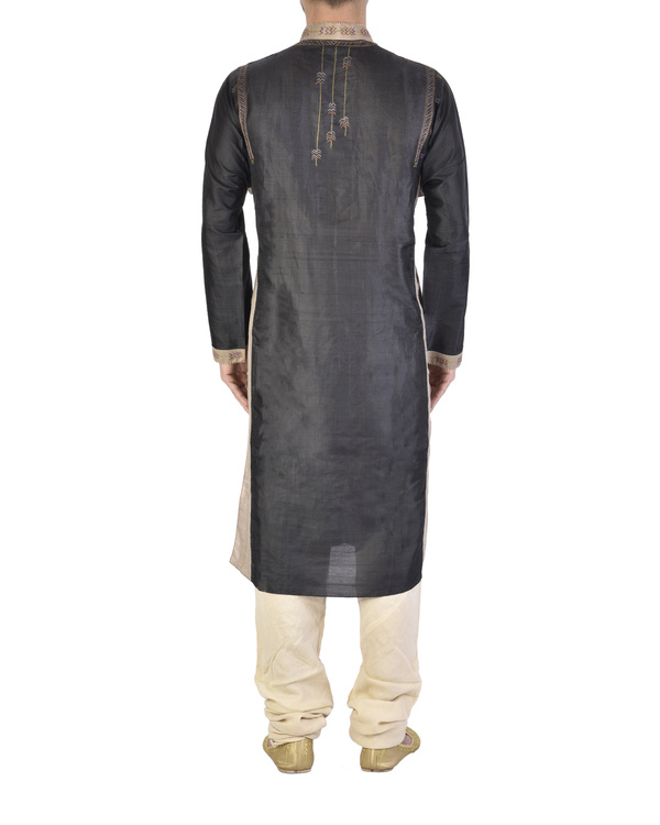 Beige and Black tussar Silk kurta 1