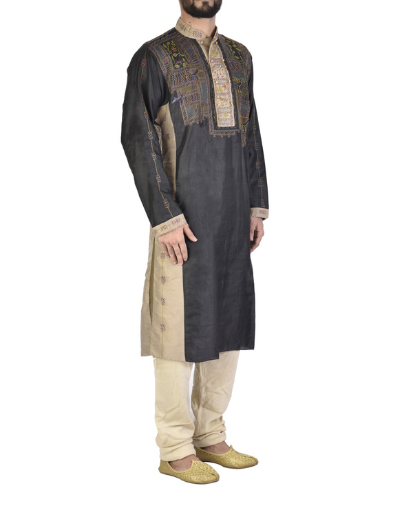 Beige and Black tussar Silk kurta 2