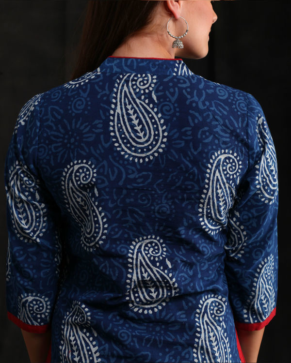 Indigo and Scarlet Kurta 1