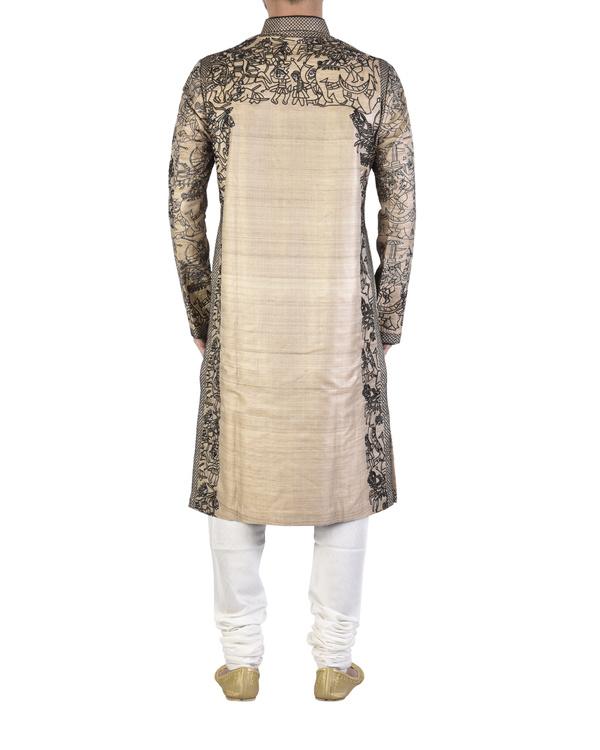 Pure silk beige kurta 1