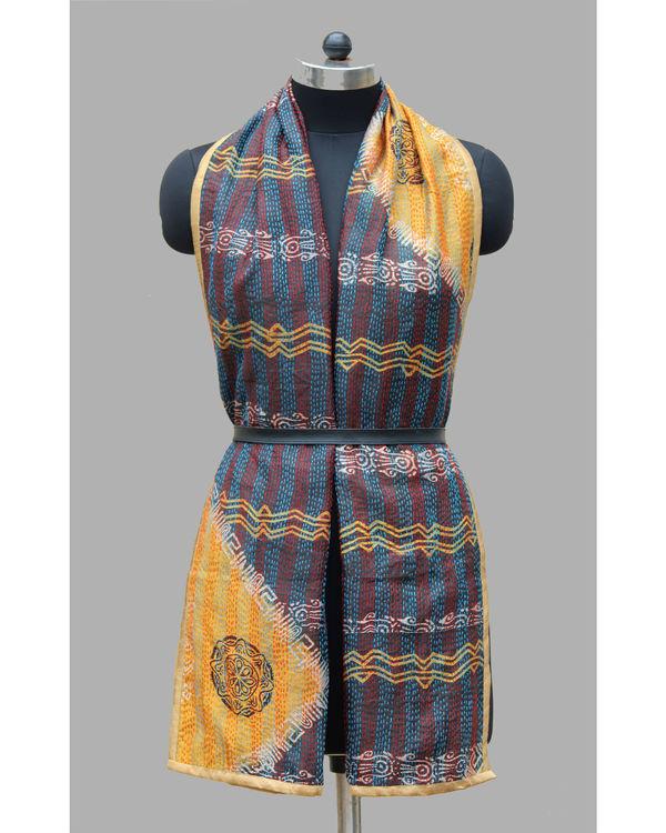 Vintage kantha silk stole 2