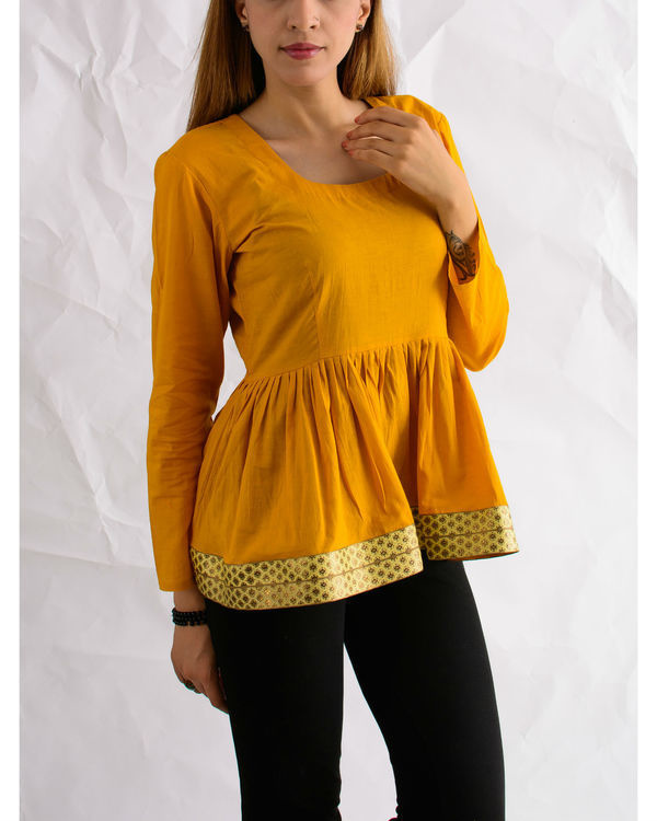 Mustard sunshine peplum top 1