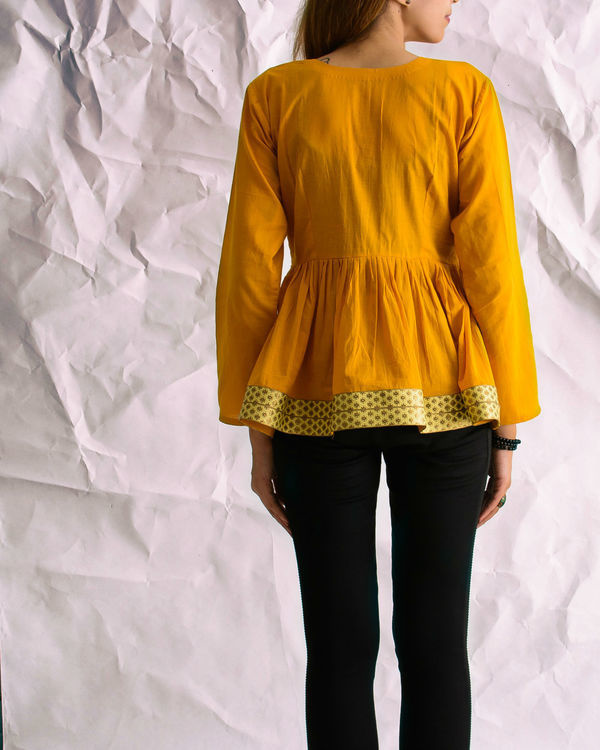 Mustard sunshine peplum top 2