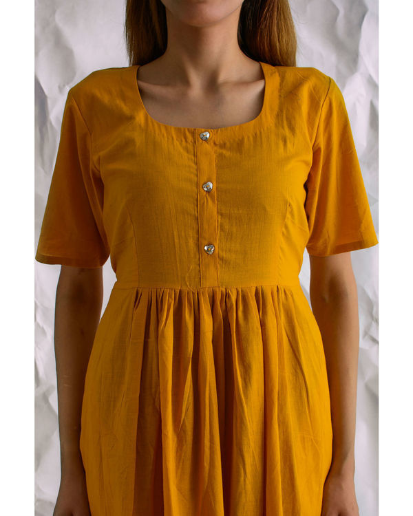 Mustard sunshine midi dress 2