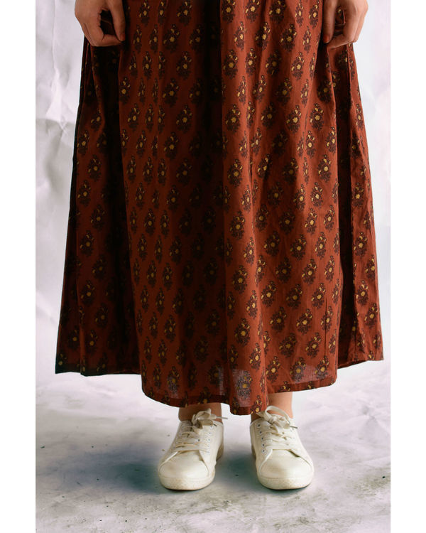 Brown hand blocked maxi dress 2