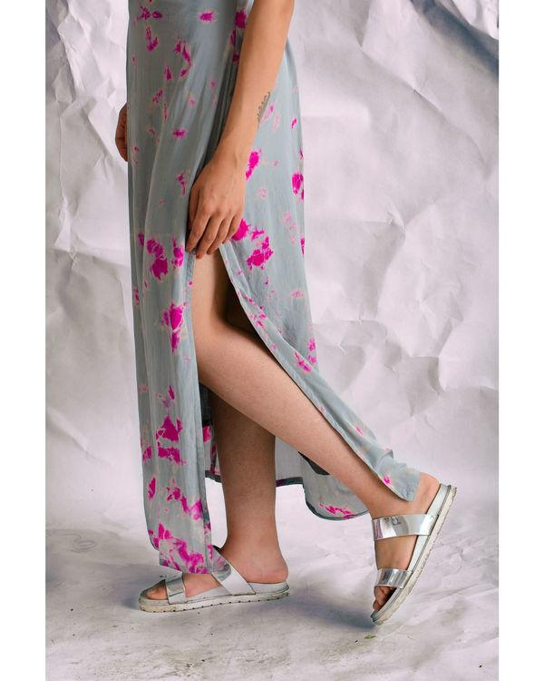 Grey tie and dye slit dress 1