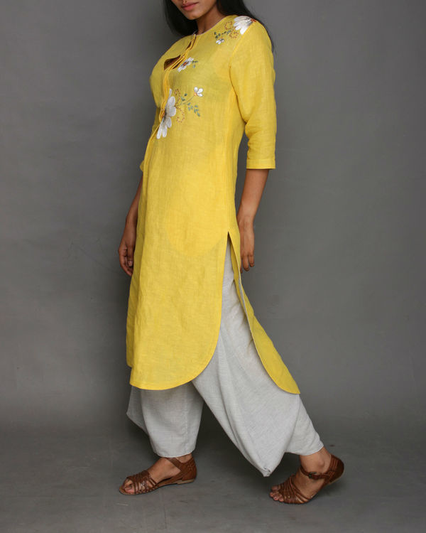 Yellow linen jasmine tunic 1