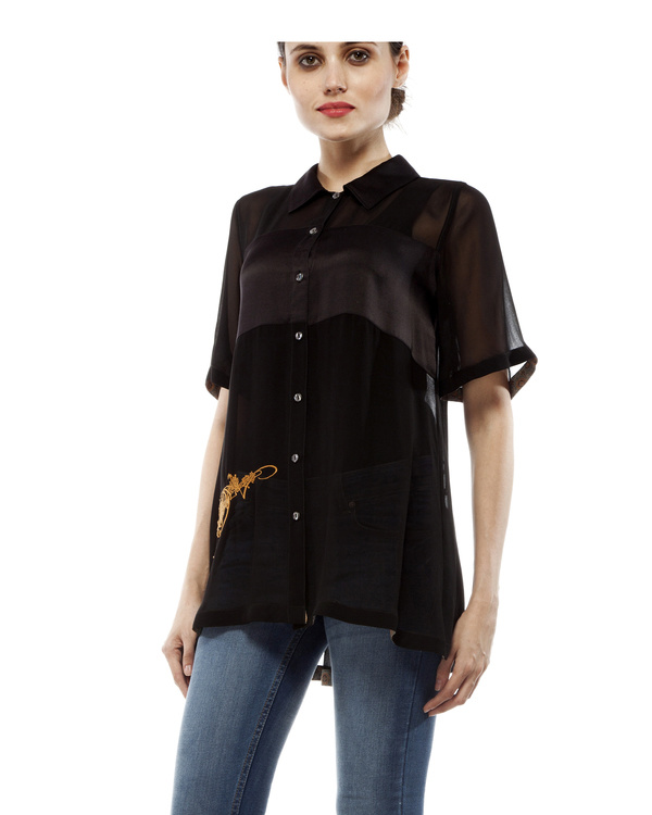 Black shirt with embroidery 2