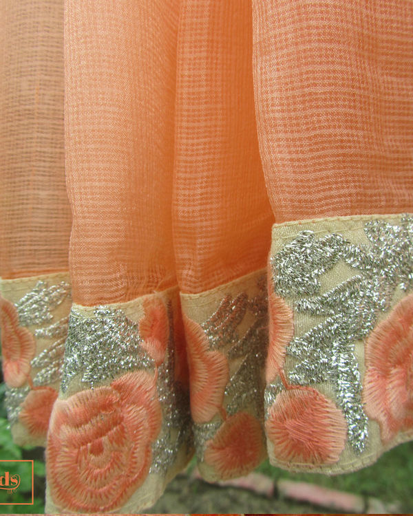 Peach annabella saree 1