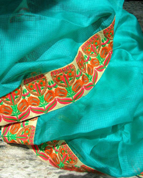 Turquoise tiara saree 1