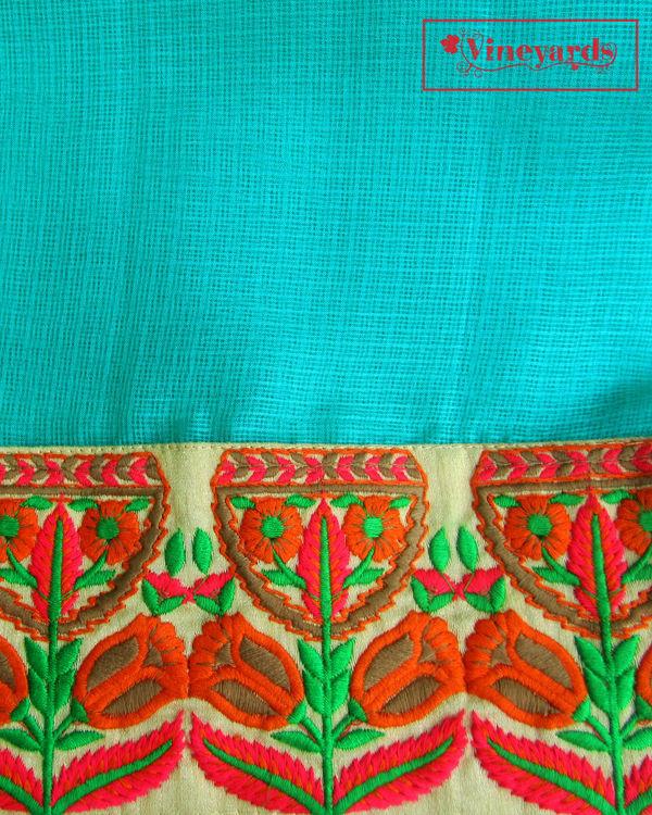 Turquoise tiara saree 2