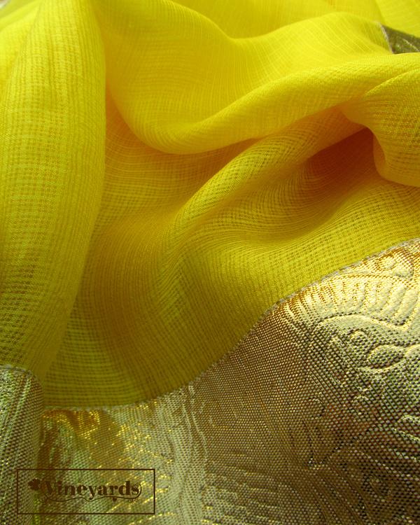 Yellow golden saree 1
