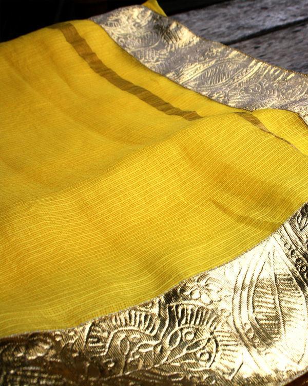 Yellow golden saree 4