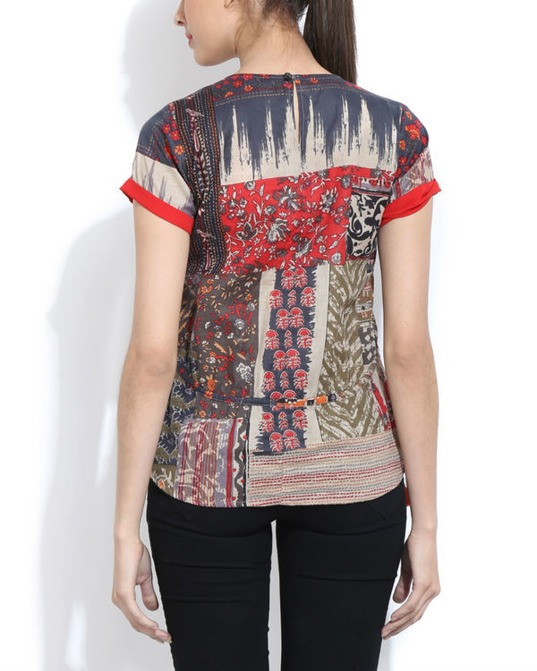 Melange top with printed back 1