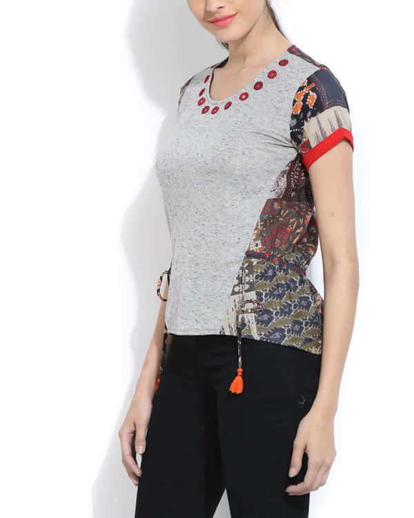 Melange top with printed back 2