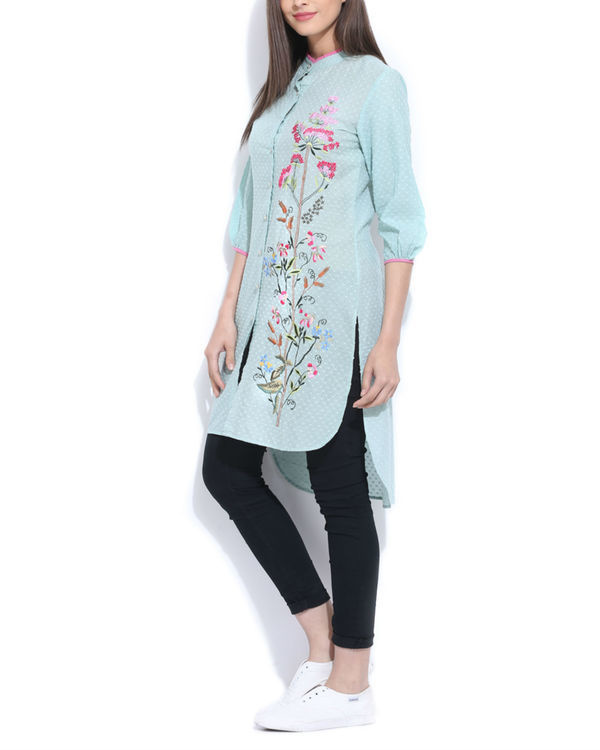 Mint embroidered  tunic 2