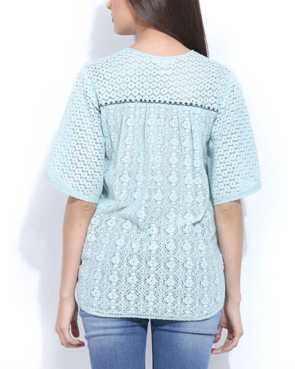 Mint lace peasent top 2