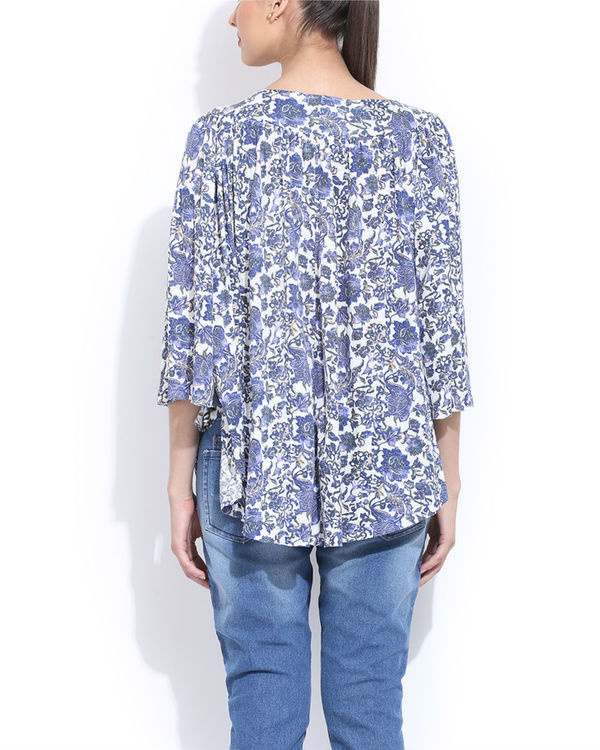 Blue embroidered cape top 2
