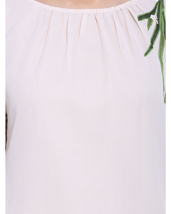 White embroidered top with printed sleeves 1