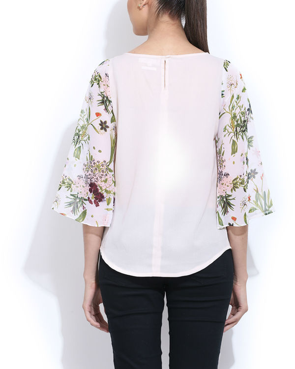 White embroidered top with printed sleeves 2