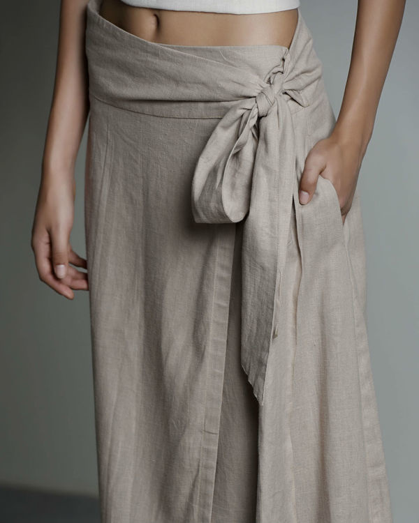 Safari linen wrap skirt 2