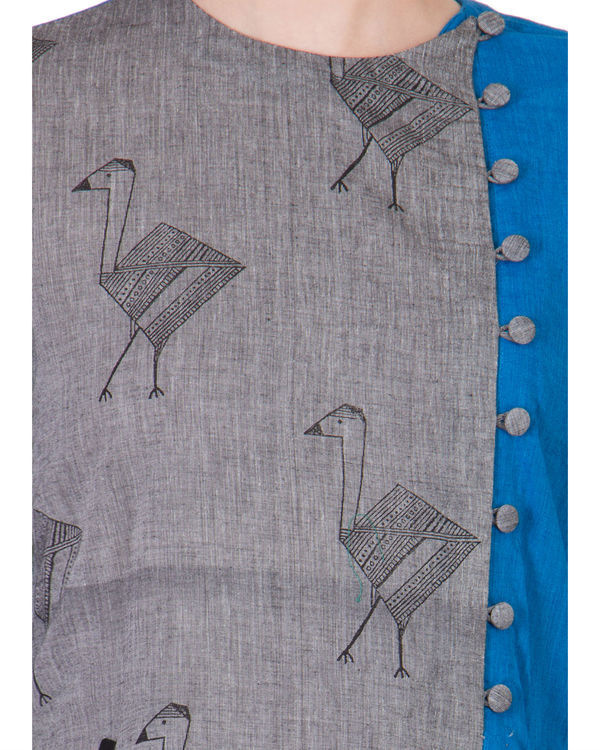 Grey and blue assymetrical tunic 1