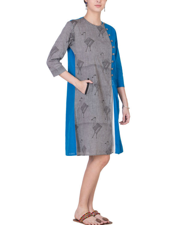 Grey and blue assymetrical tunic 3