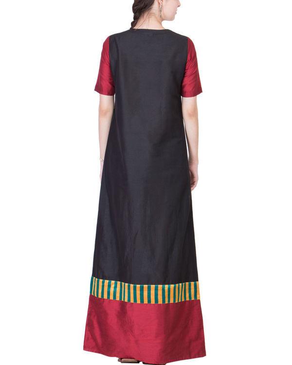 Black and maroon cotton silk maxi 1