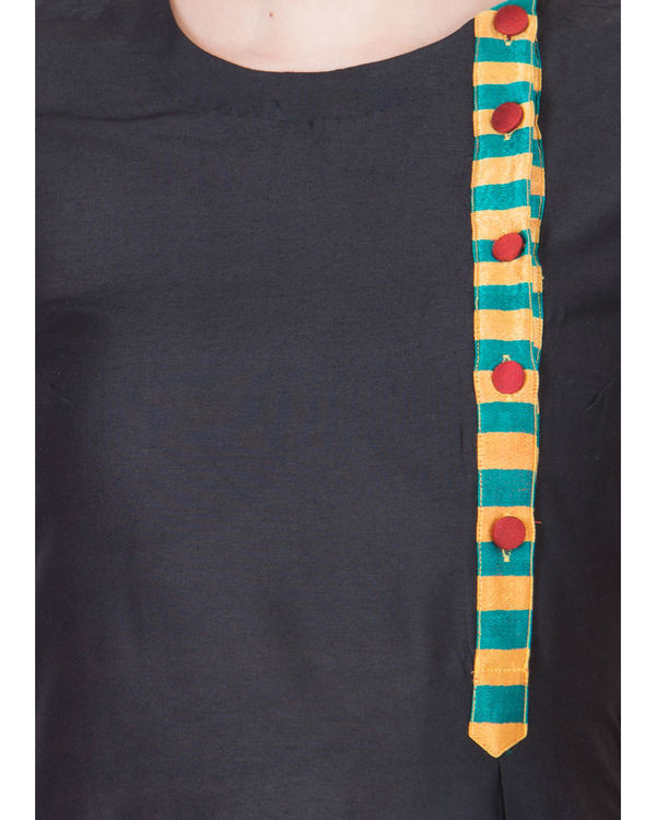 Black and maroon cotton silk maxi 2