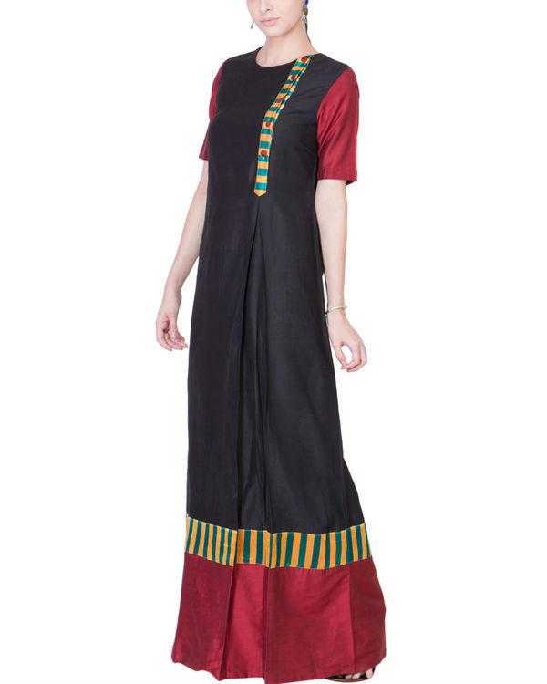 Black and maroon cotton silk maxi 3