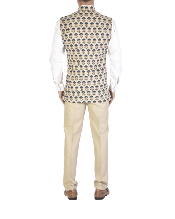 Beige cotton ajrakh pattern jacket 1