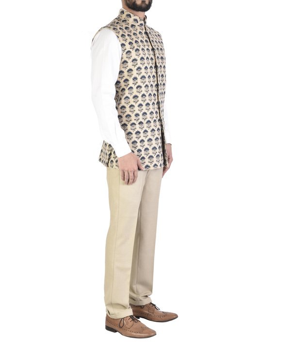 Beige cotton ajrakh pattern jacket 2