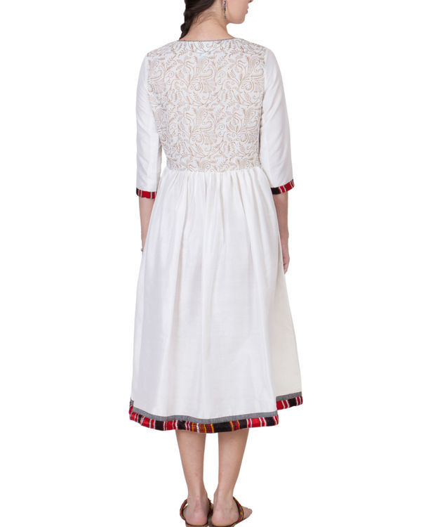 Off white cotton silk dress 1