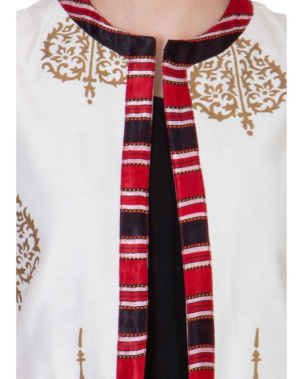 Off white block printed waistcoat 2