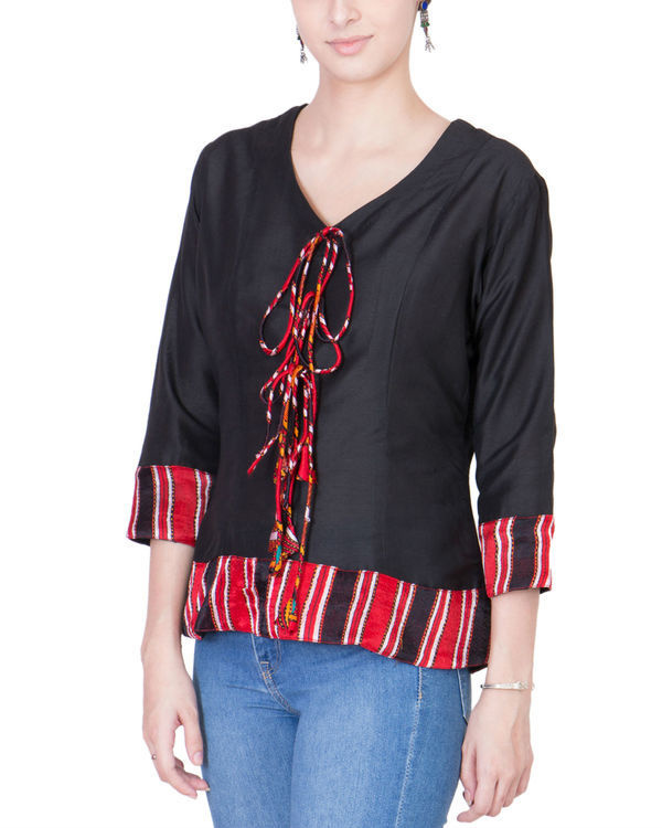 Black cotton silk top 1