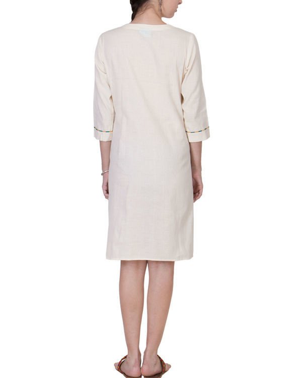 Ecru muslin assymetric dress 1