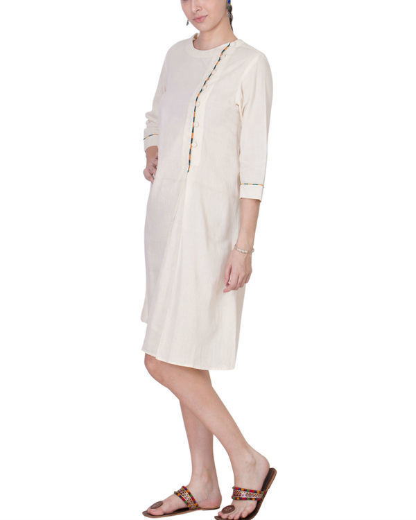 Ecru muslin assymetric dress 2