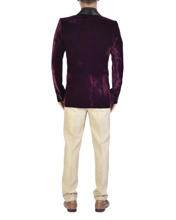 Violet cotton shawl collar jacket 1