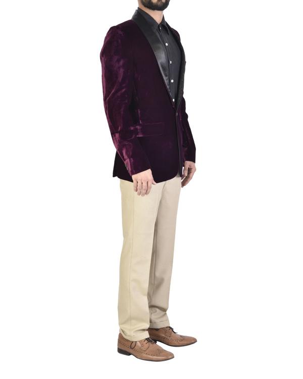 Violet cotton shawl collar jacket 2
