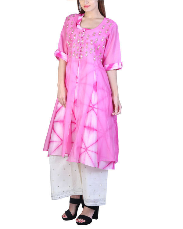 Set of pink double layered tunic with palazzo 3