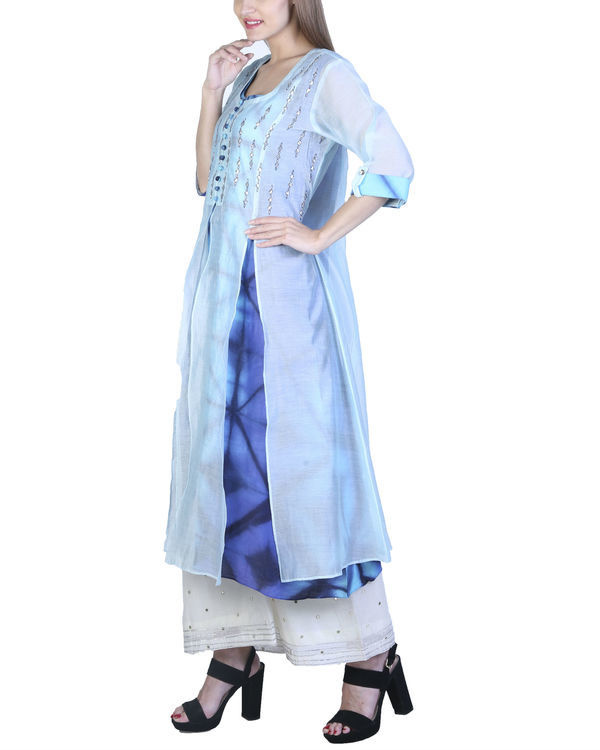 Set of jade blue double layered tunic with palazzo 2