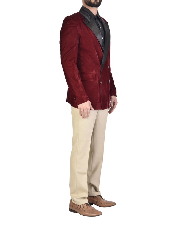 Maroon velvet jacket 2